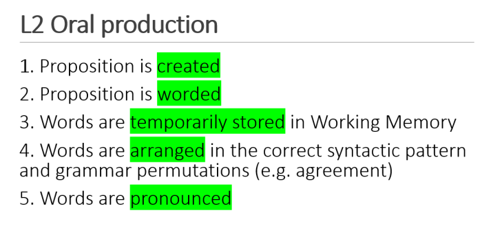 oral production